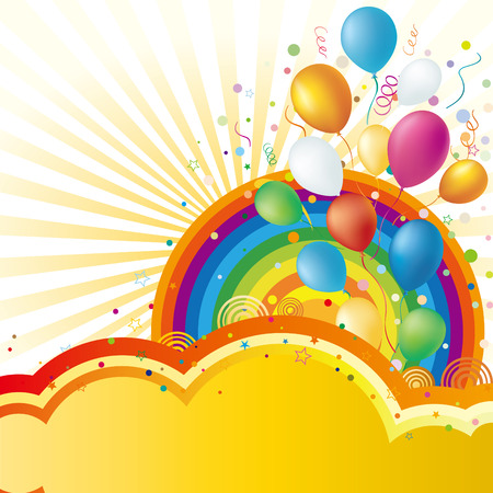 birthday party: colorful balloon and rainbow,  celebration background Illustration