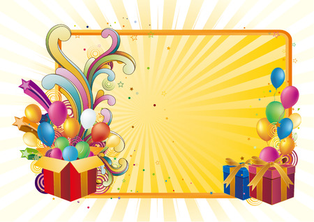 year curve: gift box and balloon,celebration background