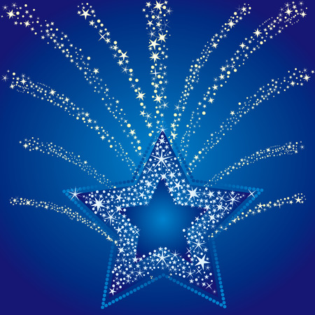 blue background of star Stock Vector - 8174081