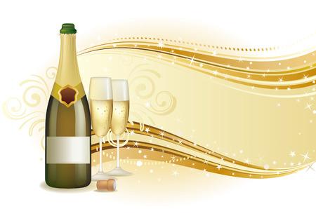 brindisi champagne: illustrazione della vacanza champagne  Vettoriali