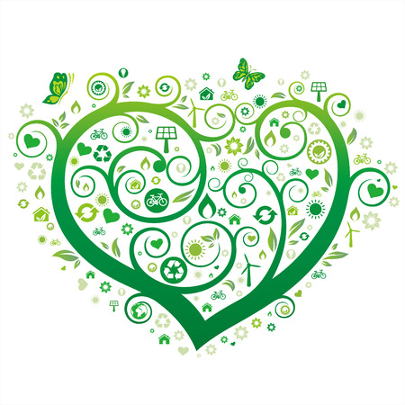 green heart illustration,environment icon Vector