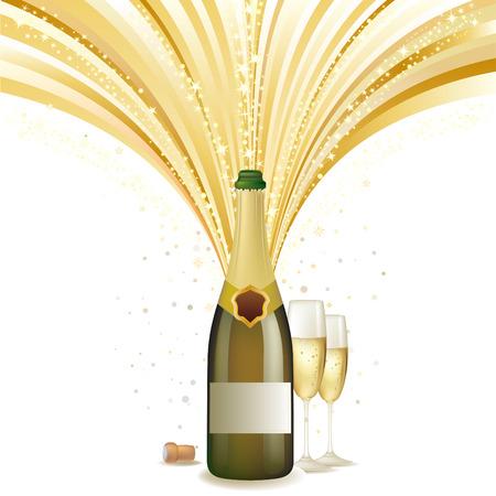 bollicine champagne: illustrazione della vacanza champagne  Vettoriali