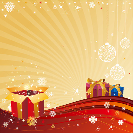 christmas celebration background,gift box and star Stock Vector - 8196111