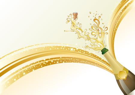 botella champagne: Ilustraci�n de champ�n de vacaciones