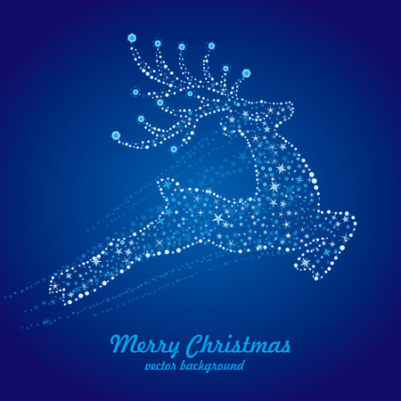 vector christmas deer,starry background Vector