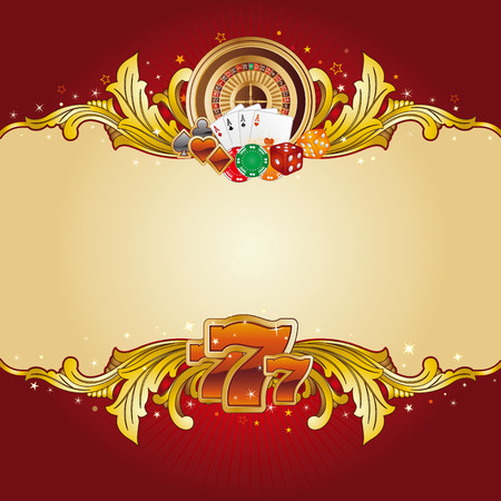 gambling chip: casino design element with gold frame Illustration