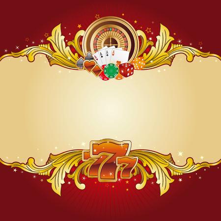 gambling chip: elemento de dise�o de Casino con marco de oro