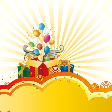 colorful balloon and gift box  celebration background Stock Vector - 8320231
