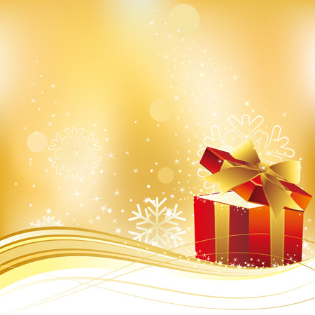 open present: christmas celebration background and gift box