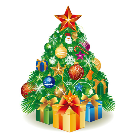 box tree: illustration christmas tree with gift box and balls decoration Illustration