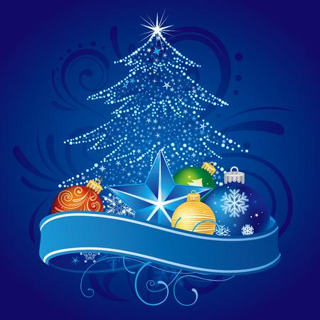 RBol de Navidad de la ilustración con decoración de bolas Foto de archivo - 8367118