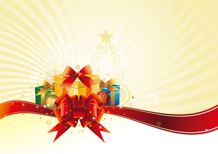 christmas background and gift box Vector