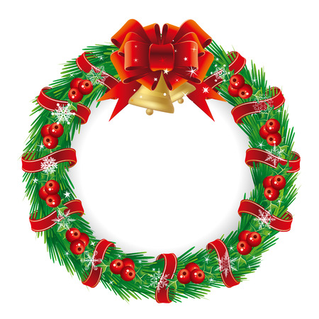 pine and berries holiday wreath with a bow Vector