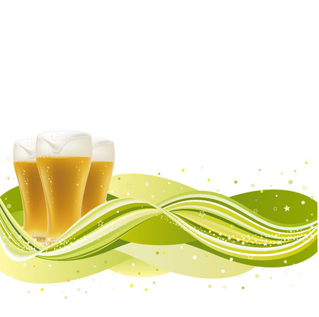 Background for beer with green wave Stock Vector - 8468857