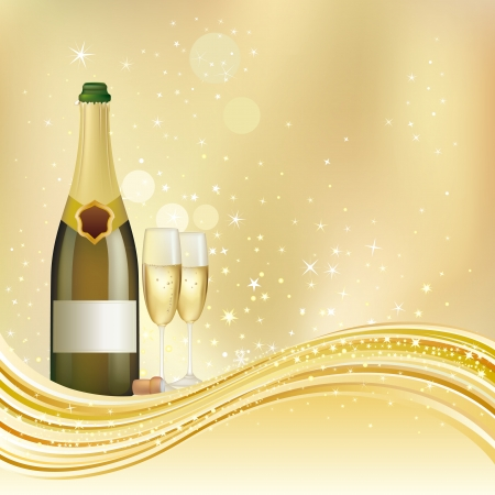 anniversary card: Illustration of champagne celebrate holiday