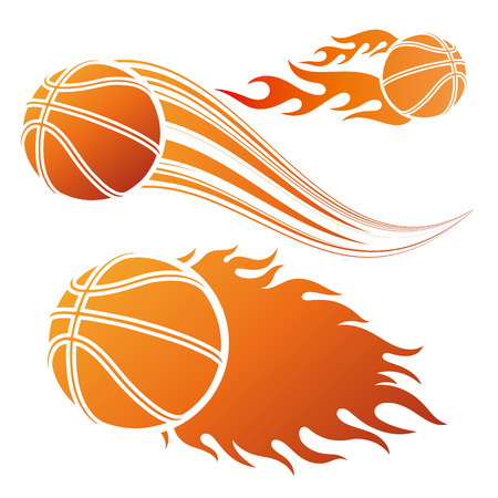 ball game: basketball design element and flames