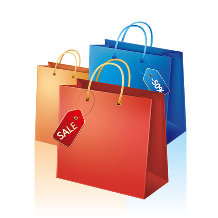 shopping bag with sale tag Vector