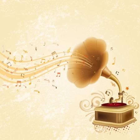 boite a musique: gramophone antique sur fond rustique