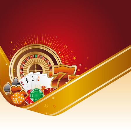 gambling chip: casino design element with gold ribbon