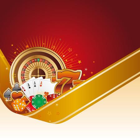 gambling chip: elemento de dise�o de Casino con cinta de oro