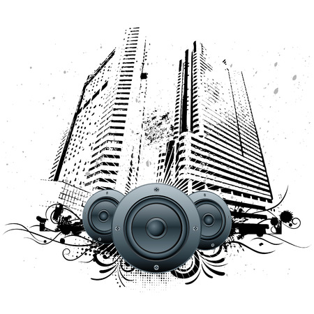 illustration of urban grunge city with speakers Stock Vector - 8631695