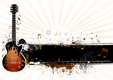 guitar with grunge banner,musical theme illustration