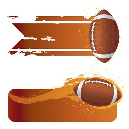 football silhouette: football americano con banner grunge