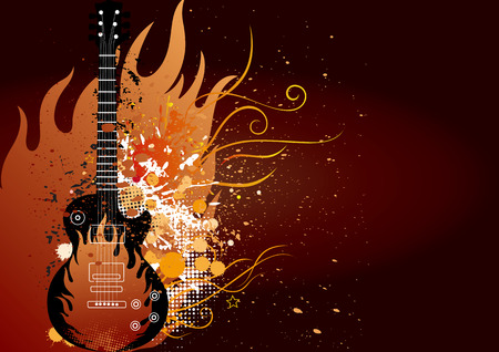roll: guitar with flame ang grunge ink,musical theme illustration
