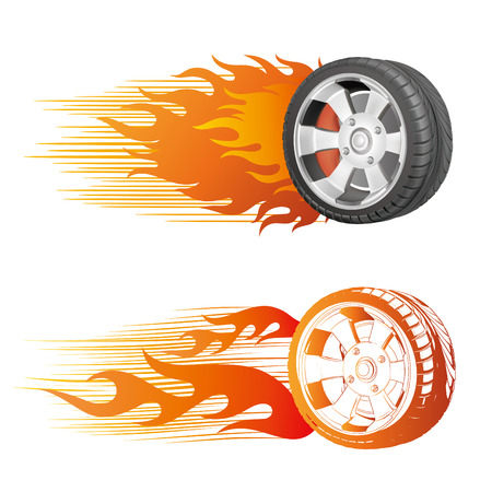 fiery racing tire Stock Vector - 8713160