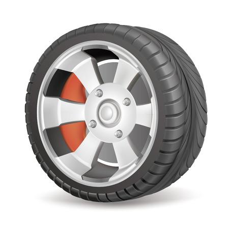 pneumatic tyres: black  wheel Illustration