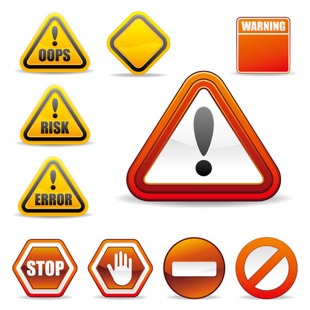 triangular warning sign: set of warning sign