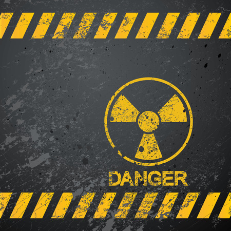 nuclear energy: nuclear danger warning background Illustration