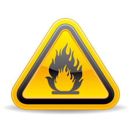 gele driehoek brandbare waarschuwingsbord