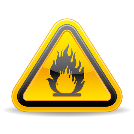 triangular warning sign: yellow triangle flammable warning sign