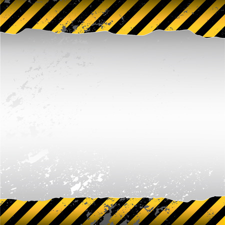 dangerous construction: warning themed torn wallpaper