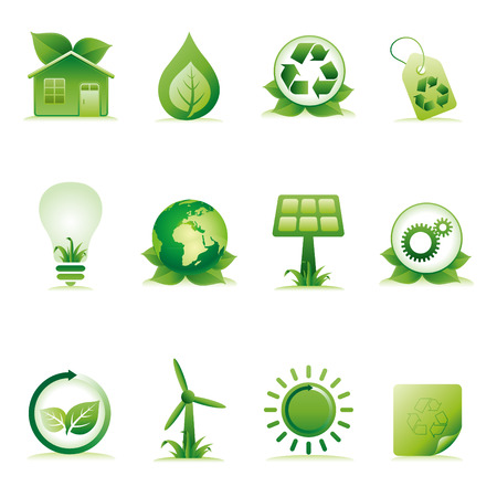 solar house: green environment icon set