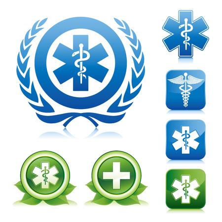 シンボル: さまざまな光沢のあるボタンに医療アイコン  イラスト・ベクター素材
