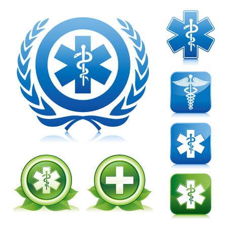 urgent: medical icons on various glossy button