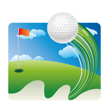 sports flag: Golf sobre hierba con cielo azul