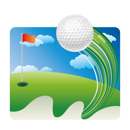 golf drapeau: Golf sur gazon avec ciel bleu