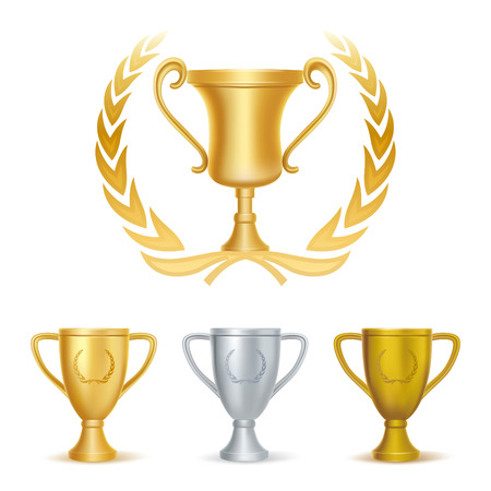 trophies-gold silver and bronze Vector