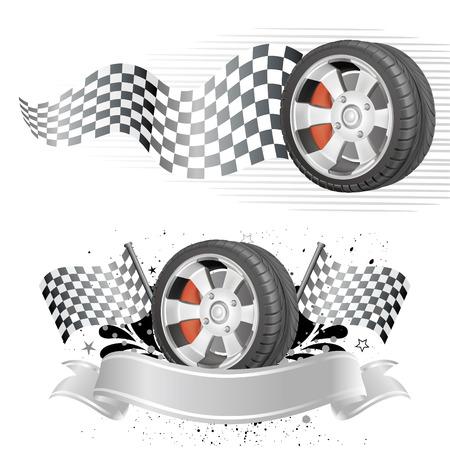 course de voiture: �l�ment disign de course automobile Illustration