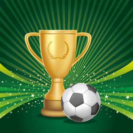 victory winner: illustration of a golden trophy with soccer