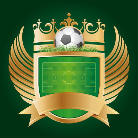golden shield: soccer with shield and crown,vector sport emblem