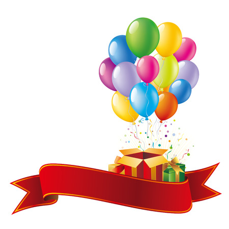 colorful balloon and gift box,vector holiday celebration background