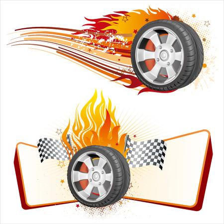 course de voiture: Fiery racing pneu, �l�ment de course automobile Illustration