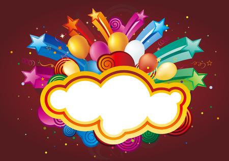 estrellas: globo colorido y estrella, fondo de celebraci�n de vectores