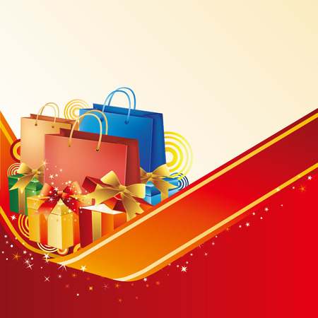 vector illustration of red shopping bag with gift box Vector