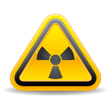 triangular nuclear warning sign on white background Vector