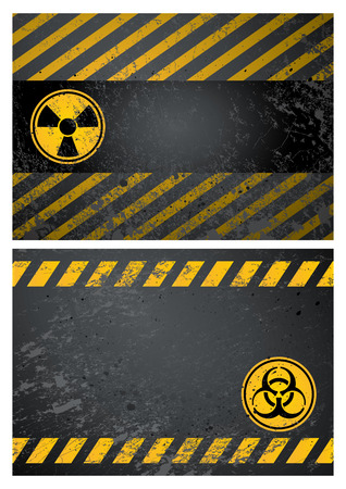 atomic symbol: nuclear and biohazard danger warning background Illustration